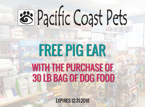 Free Pig Ear with the Purchase of 30 LB Bag of Dog Food