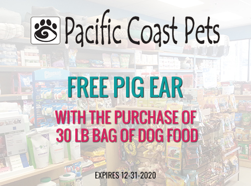 Free Pig Ear with purchase of 30lb Bag Dog Food